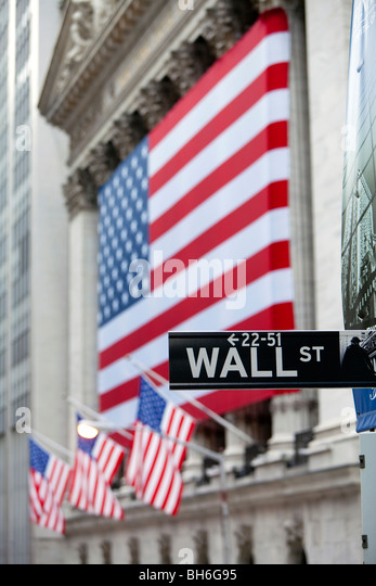 USA, New York City, Manhattan, Downtown Financial District - Wall Street and the New York Stock Exchange - Stock Image