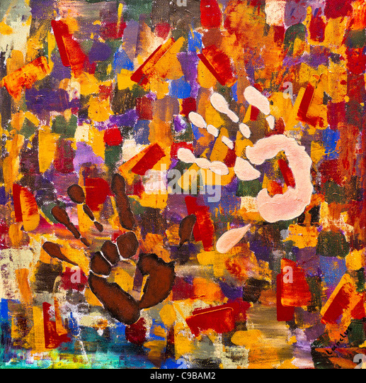 Abstract Painting Hands - Stock Image