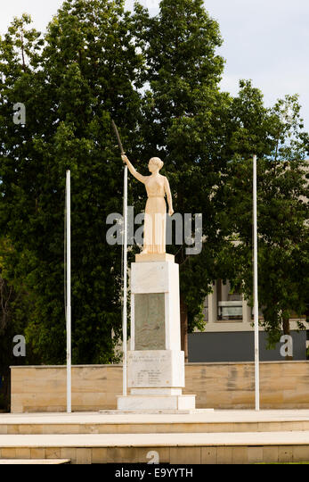 Statue in front of Larnaca Theatre, Larnaca, Cyprus. - Stock Image