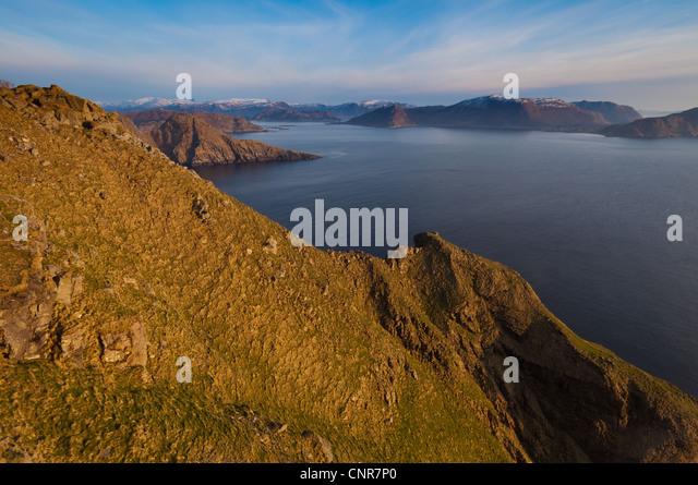 Evening on the south side of the island Runde, Møre og Romsdal, Norway. - Stock-Bilder