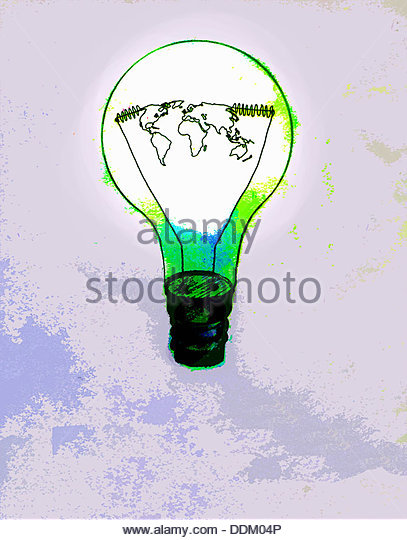 Global map inside green light bulb - Stock Image