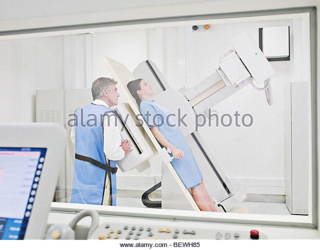 Patient having an x-ray examination - Stock Image