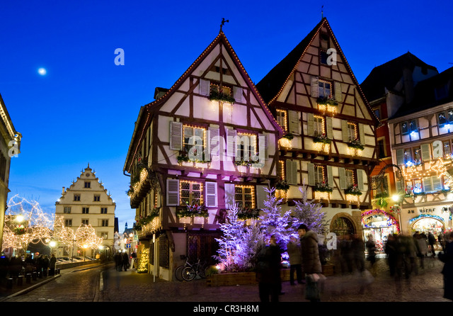 Decorative building france stock photos decorative for Blue piscine colmar