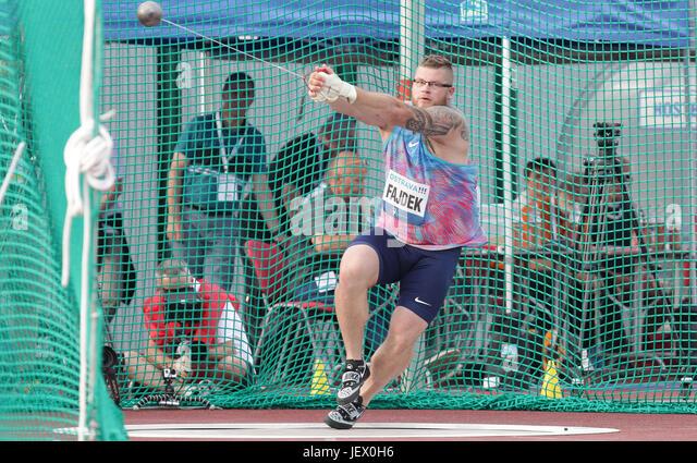 Ostrava, Czech Republic. 27th June, 2017. Pawel Fajdek of Poland won the men's hammer throw of Golden Spike - Stock-Bilder
