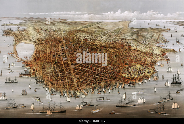 SAN FRANCISO  1878 print by Currier and Ives - Stock Image