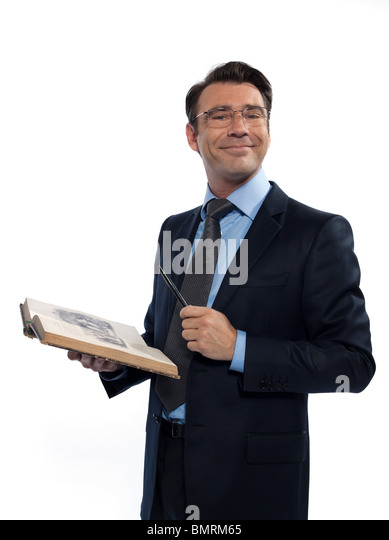 one man caucasian professor teacher teaching  reading an ancient book isolated studio on white background - Stock Image