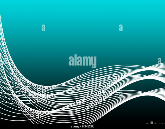 Turquoise Curvy Background Shows Graphic Design Or Modern Art - Stock Image