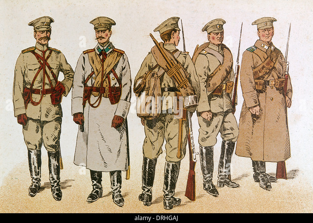 Russian infantry uniforms, WW1 - Stock Image