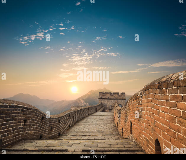 the great wall at dusk - Stock-Bilder