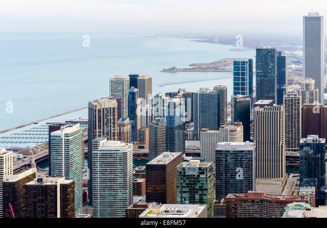 Chicago, Illinois, United States of America Chicago Skyline Southward Along Lake Michigan - Stock Image