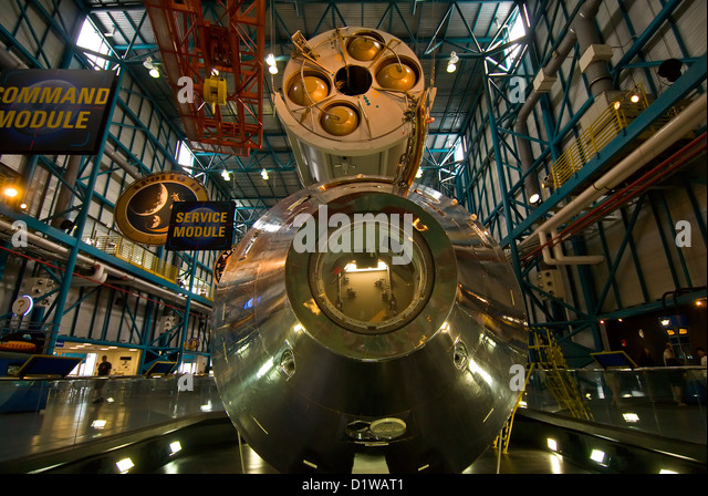 Lunar command and suppor modules Kennedy Space Center Visitor Center, Florida - Stock Image