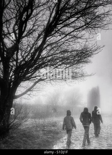 Three people walking in the rain and mist towards the Pigeon Tower Folly in Rivington, Lancashire - Stock-Bilder