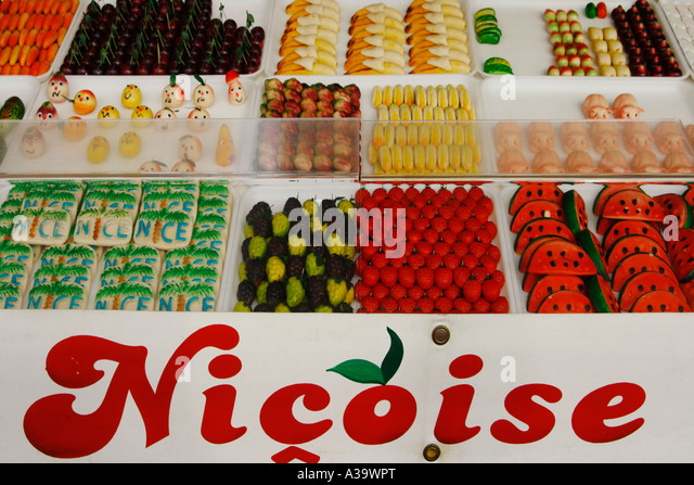 France Nice Cours de Saleya market stall with sweets - Stock Image