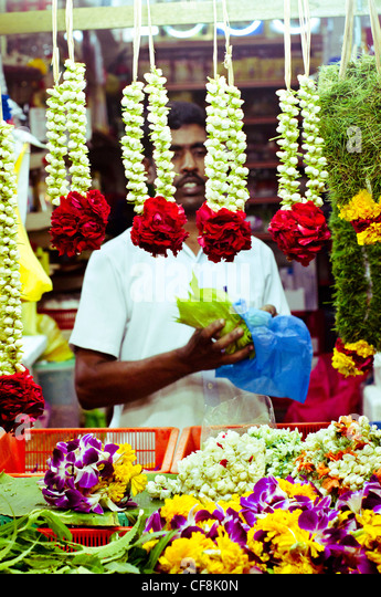 flower garlands are being sold in little india in Singapore. - Stock-Bilder