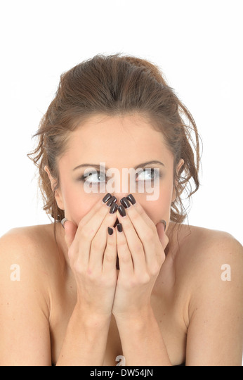 Shy Shocked Embarrassed Young Woman - Stock Image