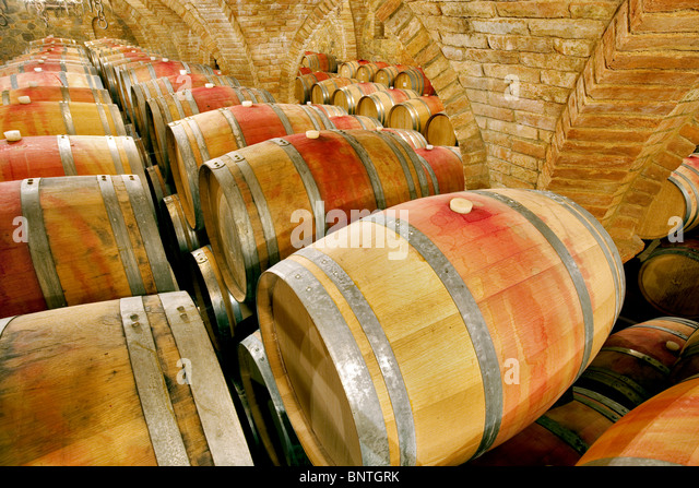 Wine aging in barrels in cellar. Castello di Amerorosa. Napa Valley, California. Property released - Stock-Bilder