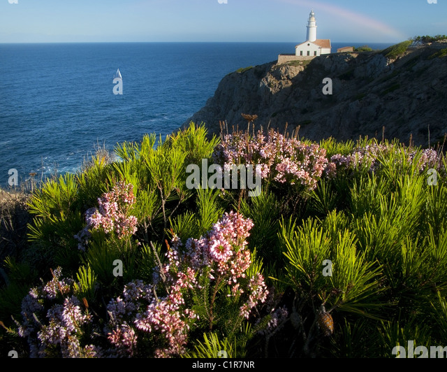 ES - MALLORCA: Lighthouse of Cala Ratjada at Punta de Capdepera - Stock Image