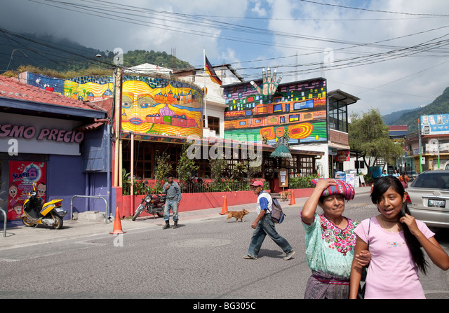 Casablanca Cafe and Restaurant in Panajachel Lake Atitlan. - Stock Image