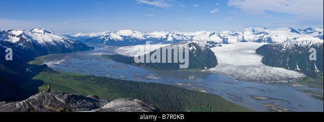 Aerial view of Taku River, Taku Glacier and Hole in the Wall Glacier, Inside Passage near Juneau, Alaska - Stock Image