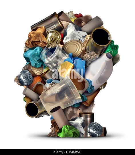 Recycling ideas and environmental garbage management solutions and creative ways to reuse waste as old paper glass - Stock Image