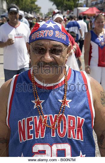 celebration Puerto Rico New York immigrant man national pride patriotism - Stock Image