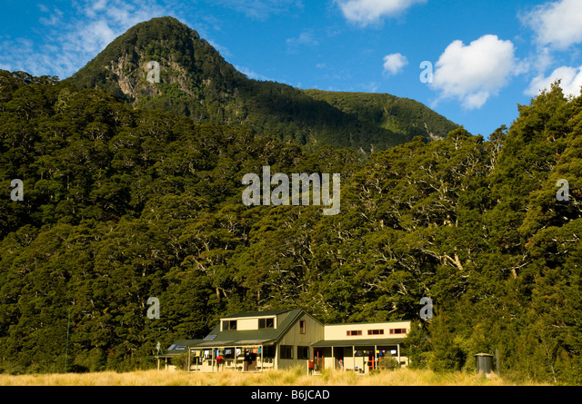 The Iris Burn Hut, Kepler Track, South Island, New Zealand - Stock Image