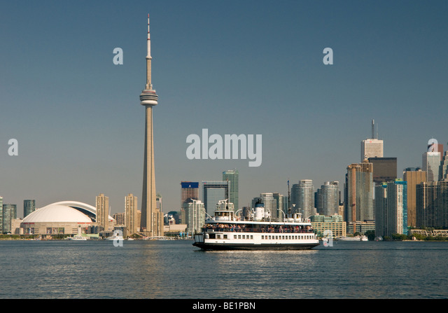 City of Toronto, CN Tower and Lake Ontario, Toronto, Ontario, Canada, North America - Stock Image