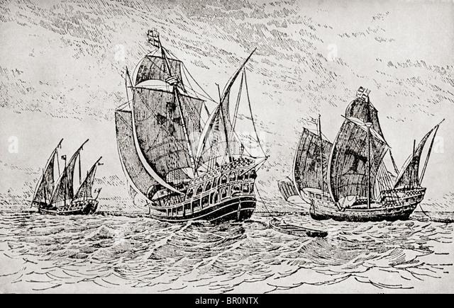 The Fleet of Chrstopher Columbus, The Santa Maria, The Pinta and The Niña. - Stock-Bilder