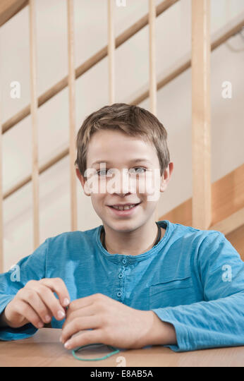 Portrait of playing boy - Stock Image