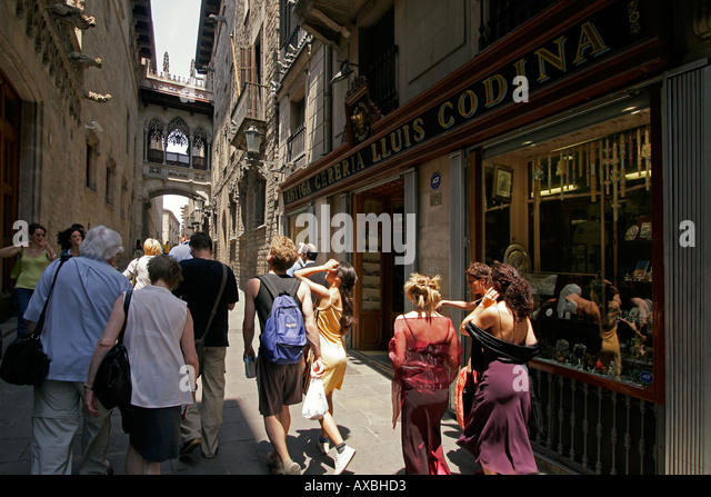 spain Barcelona old city center near cathedral barri gotic Carrer Bisbe Iruta tourists - Stock Image