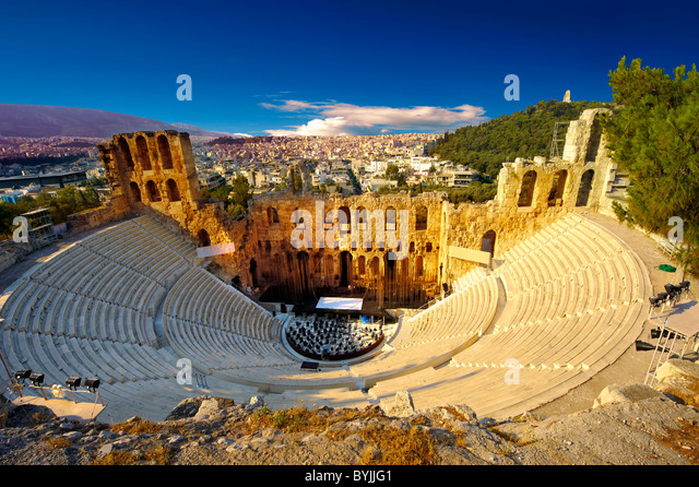 Odeon of Herodes Atticus, amphitheater on the slopes of the Acropolis, Athens Greece - Stock Image