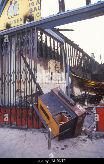 Business destruction at 1992 riots South Central Los Angeles California - Stock Image