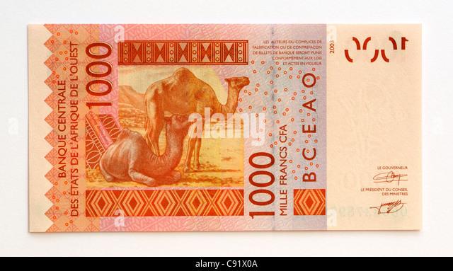 Senegal 1000 One Thousand Franc Bank Note. - Stock Image