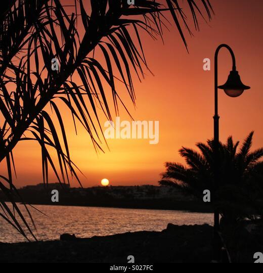 Island sunset - Stock Image