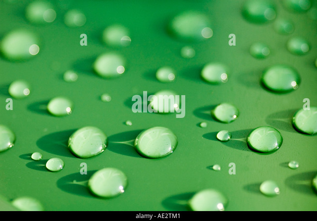 Rain drops on plastic bin lid - Stock Image