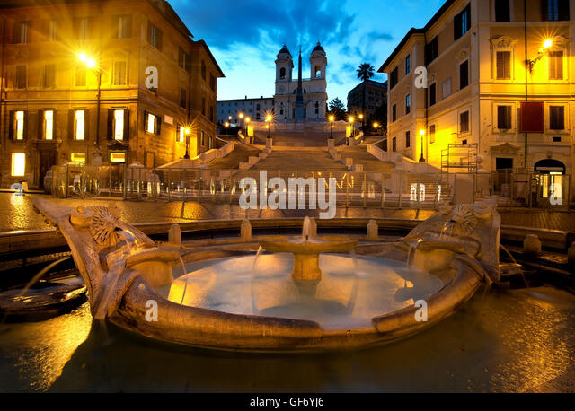 Spanish Steps and fountain in Rome, Italy - Stock Image