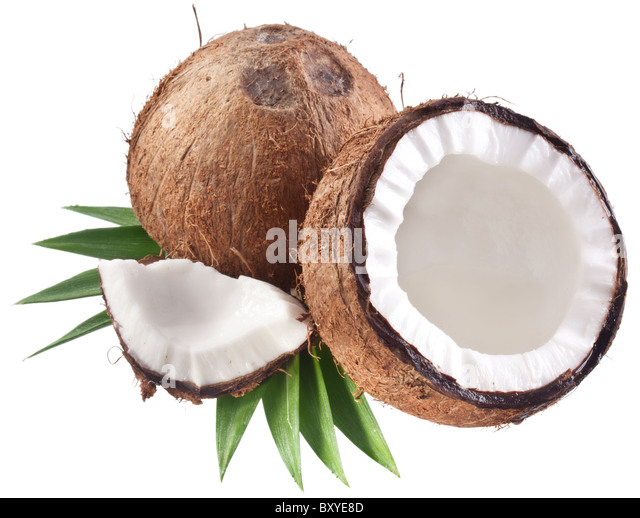High-quality photos of coconuts on a white background. - Stock Image