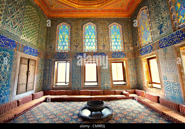 Ottoman. designed tiled rooms of the Crown Prince in the Harem of the Topkapi Palace, Istanbul, Turkey - Stock Image