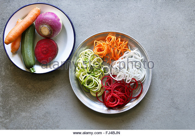 Spiral zucchini,carrot,turnip and beetroot spaghetti imitation noodles on a plate.Top view. - Stock Image