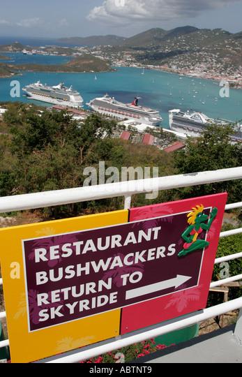 St. Thomas USVI Paradise Point Charlotte Amalie Harbor sign restaurant Skyride - Stock Image