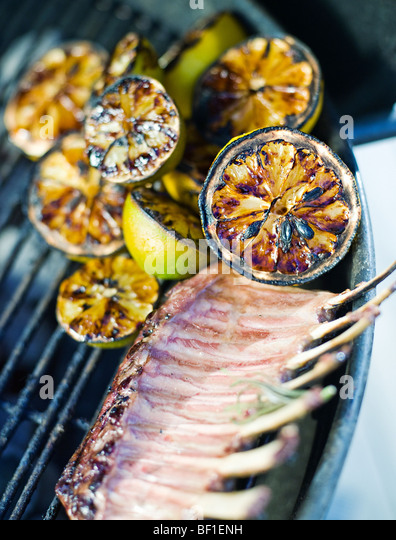 Grilled lemon and mutton, Sweden. - Stock Image