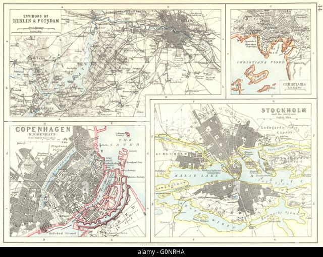 EUROPEAN CITIES. Berlin Copenhagen Stockholm Christiania/Oslo.JOHNSTON, 1899 map - Stock Image