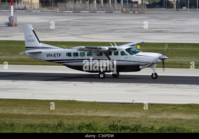 Cessna 208B Grand Caravan single-engined turboprop commuter aircraft taxiing for departure from Malta - Stock Image