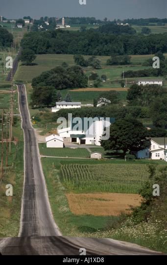 Ohio Wayne County Salt Creek farmland world's largest Amish community here - Stock Image