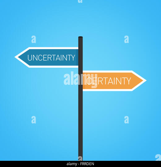 Uncertainty vs certainty choice road sign concept, flat design - Stock Image
