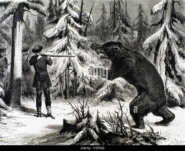 Russian aristocracy during a bear hunt. Engraving 'The Spanish and American Illustration' (1875). - Stock Image