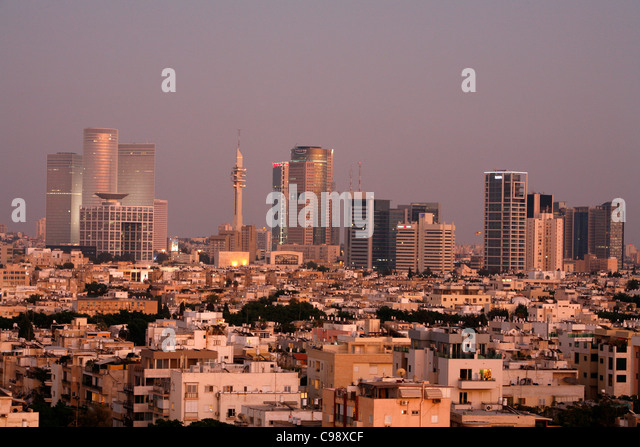 View over the skyline of Tel Aviv, Israel. - Stock Image