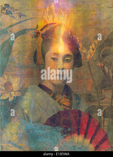 Geisha with overlays and textures. - Stock Image