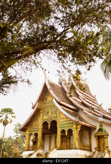 Exterior of Wat Prabang which contains the Holy Buddha, located within the gates of the Luang Prabang National Museum. - Stock Image