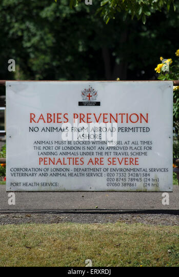 rabies prevention sign at teddington lock, on the river thames - Stock Image